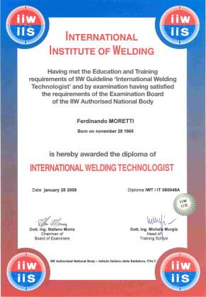 Certification Flag Ferdinando Moretti